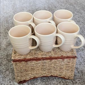 Pier 1 (6) Mugs & Basket Hone Decor Bundle